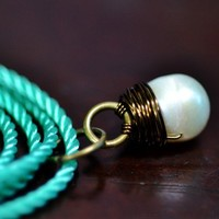 Sea Stone Pendant - white pearl wire wrapped in bronze with teal cord | HeartinHawaii - Jewelry on ArtFire