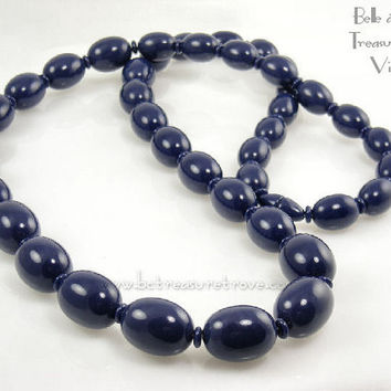 Chunky Blue Plastic Beads Vintage Necklace