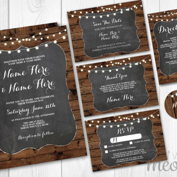 Wedding Invitations Chalk & Wood Set Template Package Printable Invites Save The Date INSTANT DOWNLOAD Tags Wood Rustic Personalize Editable