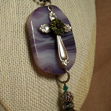 Amethyst Polished Stone Cross Necklace Crystal Fire And Beauty Original Mixed Media Outsider Upcycled Wearable Art -