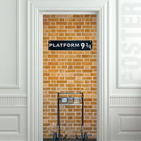 Door STICKER platform brick-red trail wall railway mural decole film self-adhesive poster 30x79inch(77x200 cm)