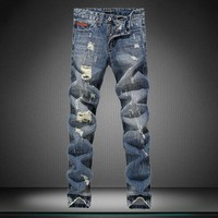 Jeans Ripped Holes Metal Straight Jeans [164468391965]
