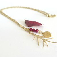 Sale Dainty Gold Necklace / Spiky Pine Leaf Necklace / Leaf Necklace / Nature Inspired / Autumn Necklace / Cabin Fever Collection