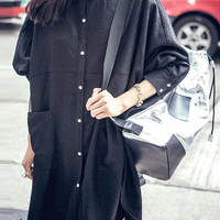 Black Long Sleeve Shirt Dress with Pocket and Button