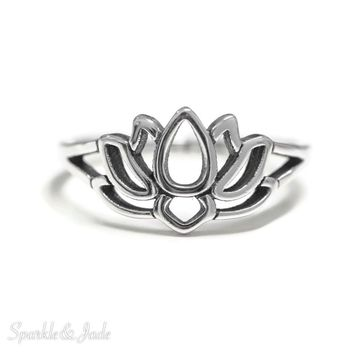 Sterling Silver Lotus Flower Openwork Ring