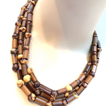 Brown Tan Beaded Handmade Long Necklace Nature Seed Beads Authentic Ethnic Jewel