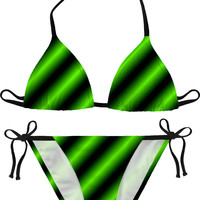 Green neon lines bikini set, black and laser green color modern pattern swimwear