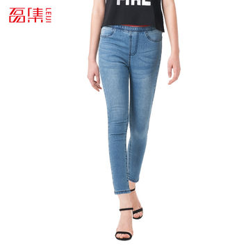 Leiji Fashion S 6XL 2016 Plus Size Women Elastic Mid Waist Leggings Washed woman Skinny Jeans Cotton Pencil Capris Denim Pants