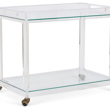 Timothy Whealon Bar Cart, Clear, Acrylic / Lucite, Bar Carts