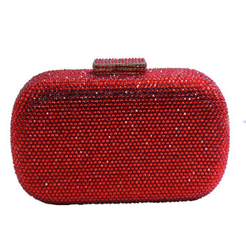 Red Crystal Evening Bags With Rhinestones Purses and Crystal Evening Clutches Bags