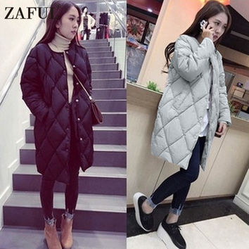ZAFUL Women Cotton Padded Jacket Autumn Winter Long Slim Black Grey Plus Size Parkas Down Female Ladies Jackets Coats Outwear