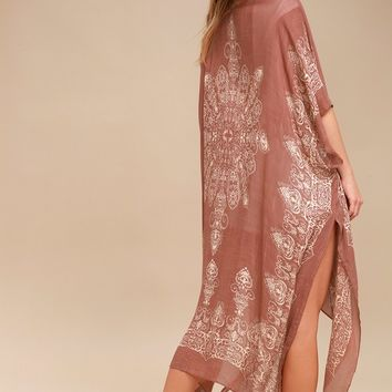 Exotic Sol Tan and Terra Cotta Print Kimono