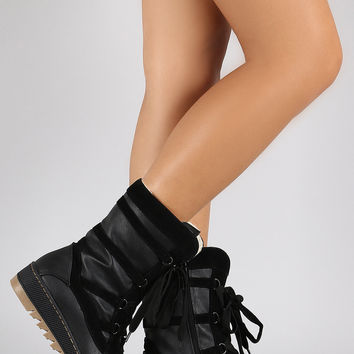 Qupid Vegan Leather-Shearling Snow Lace Up Boots