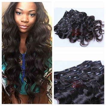8pcs/set 100g Body Wave Brazilian Clip in Hair Extensions Natural Style Human Remy Hair Extension Color #1B stocks Free shipping