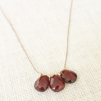 Garnet Necklace, Gold Garnet Necklace, Garnet Silk Cord Necklace, Silk Cord Necklace, Gold Garnet Silk Cord Necklace
