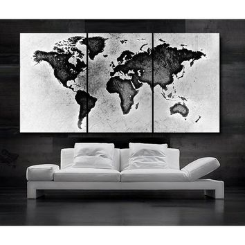 3 Panels Large Size Beautiful World Map Black & White Wall Decoration Modern Creative City Cape Landscape Photography Art Pictur