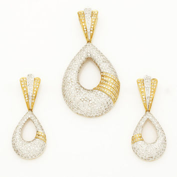 Elegant Diamond Pendant and matching Earring in 18Kt Gold and 4.64 Ct Diamonds in micro pave setting, diamond pendant necklace and earrings