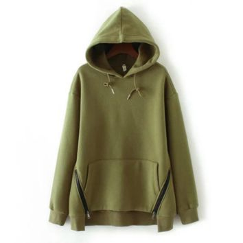 Hot Fashion pullover hoodie thickness sweater Green