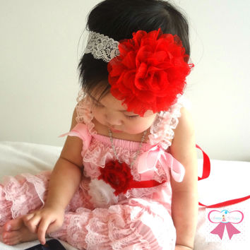 Large Red Chiffon Lace Flower Puff Headband