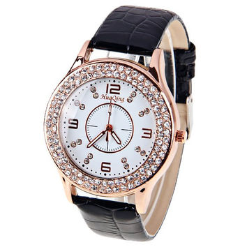 Black Leather Waterproof Quartz Watch with Rhinestones