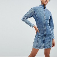 ASOS Denim Funnel Neck Dress in Acid Wash at asos.com