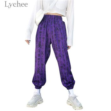 Lychee Harajuku Chinese Print Women Pants Trousers High Elastic Waist Casual Loose Trousers Jogger Pants Harem Pants