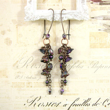 Iridescent Peacock Purple Flower Dangle Earrings - Swarovski Pearls Czech Flower Earrings Antique Copper Jewelry Chain Dainty Earrings