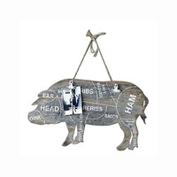 Vintage Butcher Meat Cuts Chart - Decorative Wooden Wall Art with Memo Clips 21-1/2-in (Pork (Pig))