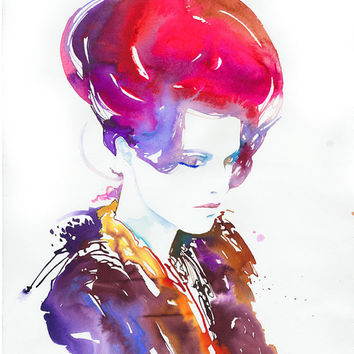 Original Painting, Watercolour Fashion Illustration. Modelink series. Titled, Rouge