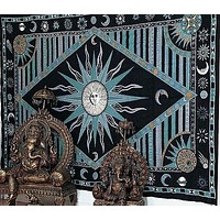 Handmade 100% Cotton Celestial Sun Moon Star Tapestry Coverlet Twin Green 70x104