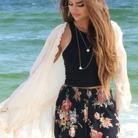 Delray Beach Black Floral Print Shorts