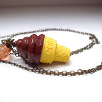 Chocolate ice cream necklace, food jewelry