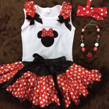 Minnie Mouse Boutique Outfit, Birthday Set, Pettiskirt, Mickey Mouse, Dress, Chunky Necklace, Knotted Headband