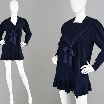 Vintage 80s LAURA ASHLEY Dress Dark Navy Blue Mini Dress Sailor Dress Corduroy Dress Nautical Dress Needlecord Dress Kawaii Dress Pussybow