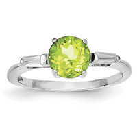 Sterling Silver Rhodium Peridot & CZ Ring