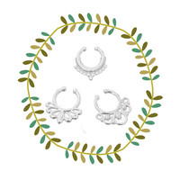 Round Fake Septum Piercing Set, Tribal Faux Nose Ring - Silver