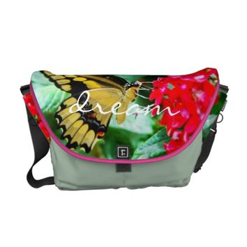"""Dream"" yellow butterfly photography messenger bag"