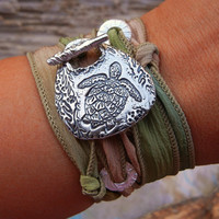 Nature Jewelry, STERLING Silver Silk Wrap Bracelet, Sterling Silver Sea Turtle Silk Ribbon Bracelet, READY to SHIP Gift for Her