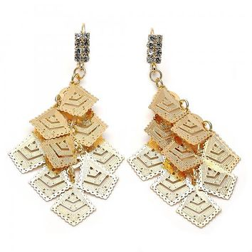 Gold Layered 5.071.003 Chandelier Earring, Diamond Cutting Finish, Gold Tone