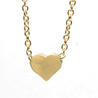 "Dainty Gold Plated Heart on 18"" Gold Chain Necklace - Cute elegant simple jewelry for everyday wear"