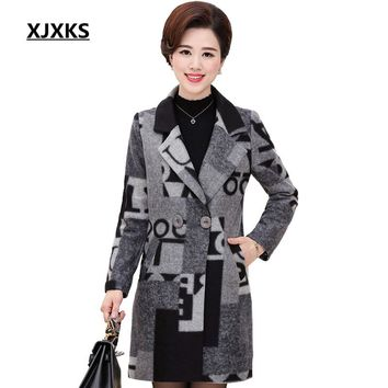 XJXKS Fashion Design Winter Coat Women Warm Cotton Wool Coat Long Women's Cashmere Coat European Jacket Outwear D11