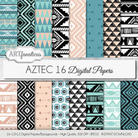"Tribal digital paper ""AZTEC"" digital paper tribal designs in blue, beige, black, white, arrows, triangles for scrapbooking, invitations etc"