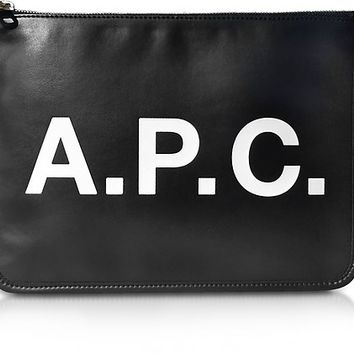 A.P.C. Black Signature Vinyl Clutch
