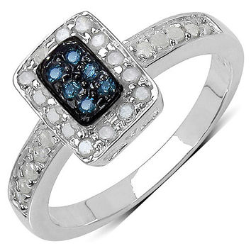 0.36 Carat Genuine Blue Diamond & White Diamond .925 Sterling Silver Ring
