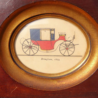 TWO Antique Carriage Pictures 1800s 1) Brougham 2) Dress Coach