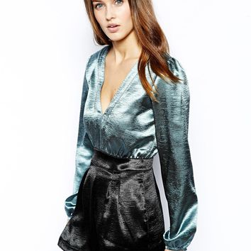 Motel Bubble Playsuit in Satin