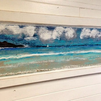 Original Sander Painting - The Adventure - Beach House Art Wall Decor Door Panel Painting by CastawaysHall