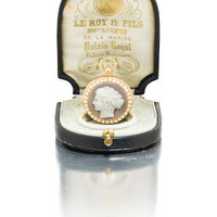 Bonhams : LeRoy & fils, Paris and London, A fine and unusual 18K gold fob watch set with a hardstone cameo and seed pearls, with original boxNo. 41578, circa 1860