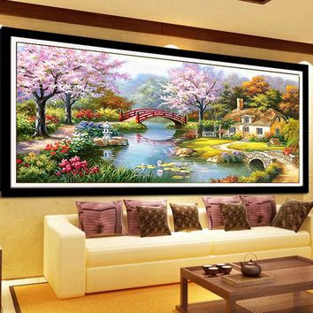 Landscape pictures Cotton Silk Thread DMC Cross Stitch Kits 100% Printed Embroidery DIY Handmade Needlework Wall Home Decor