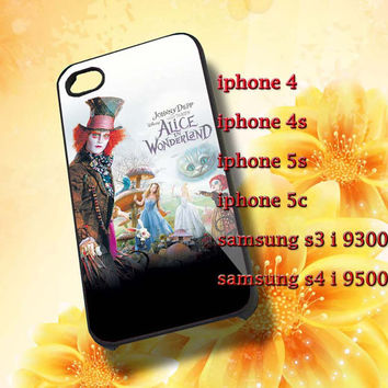 Alice in wonderland New Hard plastic and Rubber case iphone 4/4s,5/5s,5c,Samsung S3 i9300,S4 i9500